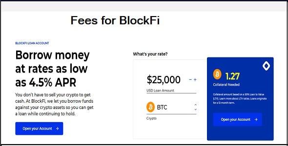 Fees for BlockFi